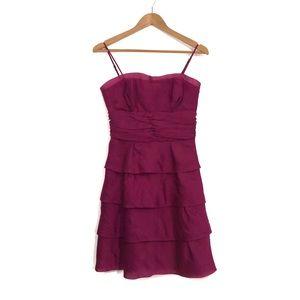 Max & Cleo Women's Size 4 Berry Pink Tiered Dress